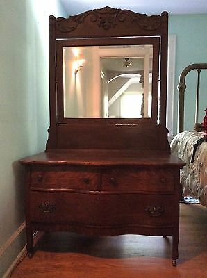 Solid Oak Dresser, Three Drawers & Tilt Mirror, MOVING - Pick Up By 7/26