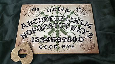 Wooden Large Ouija Board Esoteric Symbols & Planchette & Instructions halloween