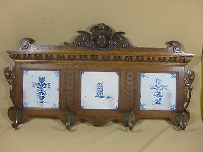 Antique Oak Coat Rack With Three 17th  C Dutch Delft Tiles