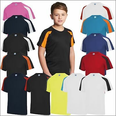 AWDis Kids Contrast Cool T Raglan Sports Polyester TShirt Tee Boys Girls T-Shirt