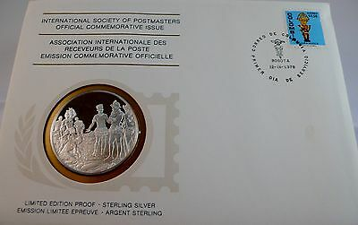 MUISCA CULTURE, COLOMBIA, Postmasters STERLING SILVER COIN, FIRST DAY COVER