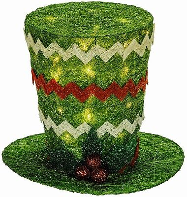 Christmas tree topper sisal lighted top hat Charles Dickens green 4CUV506