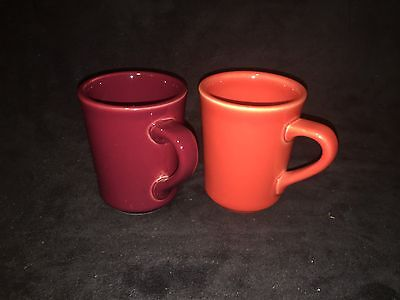 HLC Homer Laughlin Denver Fiesta Persimmon / Cinnabar (2) Coffee Cup Mugs