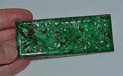 Large Antique Chinese Jadeite Jade Rectangular Carving in Silver Pin Brooch