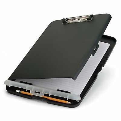 New Officemate Slim Clipboard Storage Box Portable Letter Case Office Charcoal