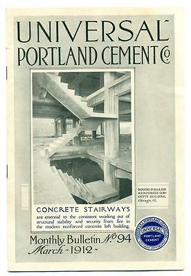 1912 UNIVERSAL PORTLAND CEMENT Co ARCHITECTURE ADVERTISEMENT BROCHURE MAILER