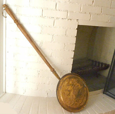Antique French Hammered Copper Hand Forged Riveted Bed Warmer 19th C Primitive