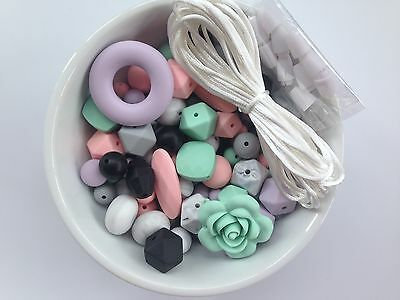 100 Silicone Beads, DIY Silicone Teething Necklace Kit,  Silicone Loose Beads