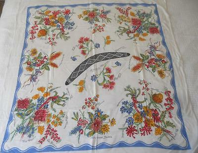 Vintage Retro 1950's Printed Rayon Table Cloth Australian Wild Flowers Boomerang