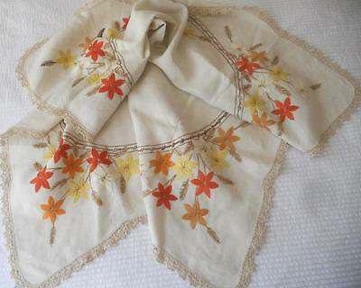 Vintage 1950's Embroiderd Linen Table Cloth Autumn Fall Leaves Crochet Lace Edge