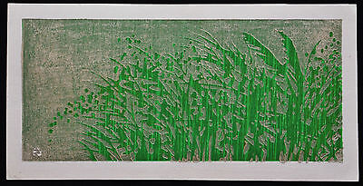 Japanese Woodblock Print By Sano Takao Green Leaves, Silver Background