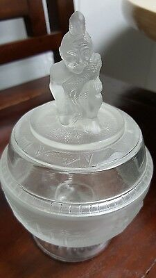 Vintage LG  Wright Company Compote with Indian on top