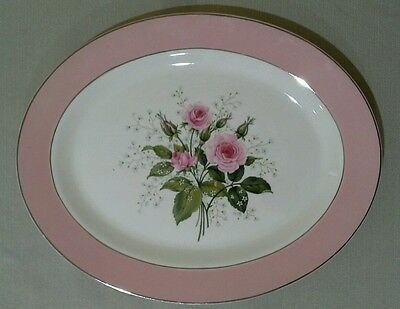 Vintage Homer Laughlin Pink Roses Serving Platter