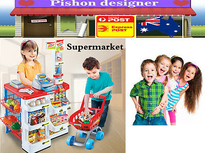 Kids Supermarket Pretend  Play Set Cash Register Shopping Trolley Scanner Toy OZ