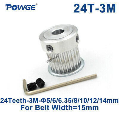 24 Teeth 3M Timing Pulley Bore 5/6/6.35/8mm for Width 15mm 3M Synchronous Belt