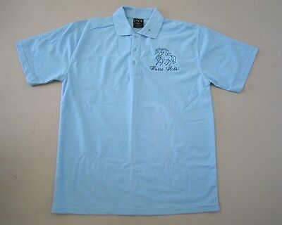 Personalised Embroidered Kid's Shirt in PALE BLUE your choice of Horse Design
