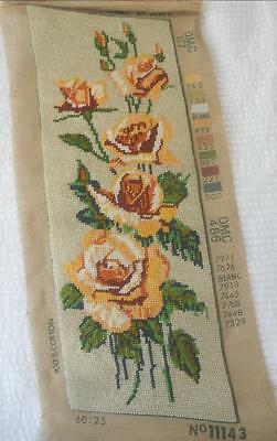 Vintage Completed Tapestry Apricot Roses