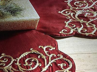 NWT PIER 1 IMPORTS RED & GOLD Embroidered Scalloped Christmas Tree Skirt Tassels