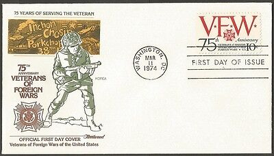 Us Fdc 1974 Korea -Veterans Of Foreign Wars 10C First Day Of Issue Cover