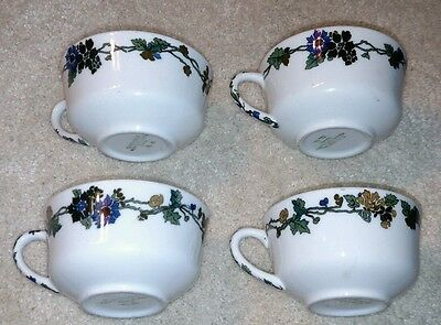 Set Of 4 Vintage Shenango China Dark Flowers Floral Vine Coffee Mugs Tea Cups