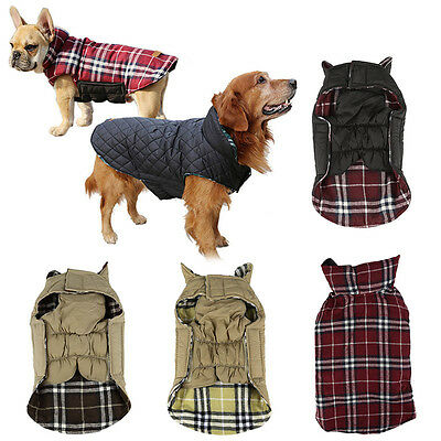 Pet Dog Waterproof Reversible Jacket Coat Warm Padded Vest Clothes Puppy Apparel
