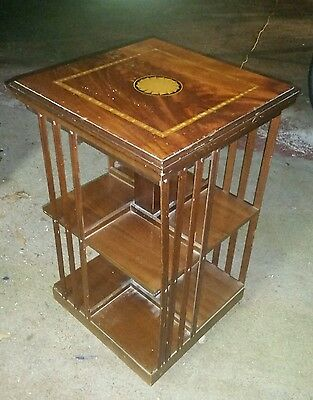 """VINTAGE SOLID MAHOGANY INLAID REVOLVING BOOKCASE 30"""" High x 18"""" Wide"""