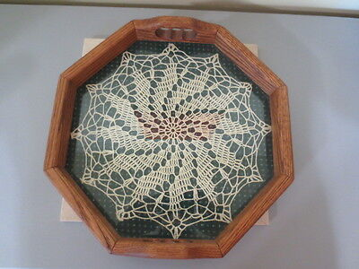 """Vtg 1984 Oak Serving tray with Mounted Crochet Doilie  - 14""""  - Kuehme Coll USA"""