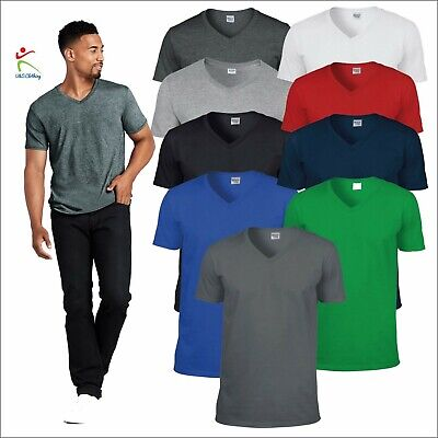 Gildan Softstyle Adult V-Neck T-Shirt Mens Tshirt Soft Jersey Cotton Tee T TOP