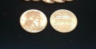 1960 P&D Large Date CENT UNCIRCULATED LINCOLN  BU US Penny 2 Coins