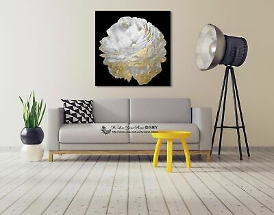 White Flower Stretched Canvas Print Framed Wall Art Home Office Decor Painting