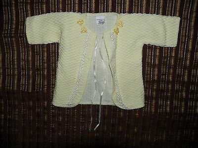 Vintage Newborn Sears Acrylic Butter Yellow Cardigan Sweater