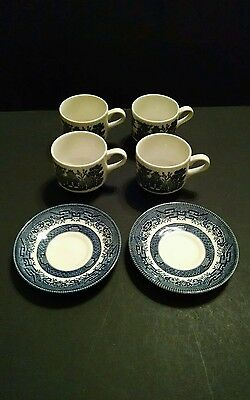 Vintage Churchill BLUE WILLOW 4 Cups & 2 Saucers, from Staffordshire England
