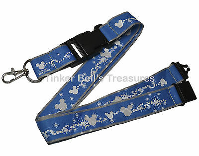 DISNEY Pin Trading Lanyard - Blue with White Mickey Icons - Card Holder & Clip