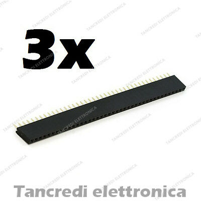 3pz Connettori Strip Line Femmina 40 poli 40x1 Header Socket Female passo 2.54mm