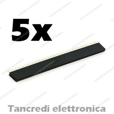 5pz Connettori Strip Line Femmina 40 poli 40x1 Header Socket Female passo 2.54mm