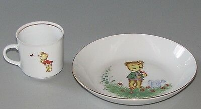 vintage German Colditz child's bowl and mug cup bear & ladybug 1950's porcelain