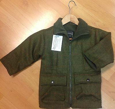 Children's Tweed Jacket sage green - with fleece Linings - Shire Classics