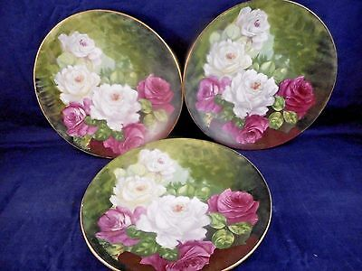 """3 Vintage Royal Art Italian Handpainted 6-1/4"""" China Plates Signed by T. Duval"""