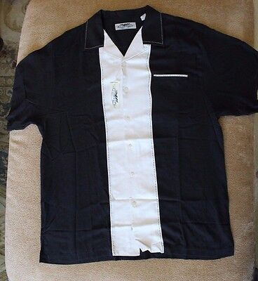 Patron Tequila Short Sleeve Button Up Bowling SILK Shirt Men's Size LARGE NWT