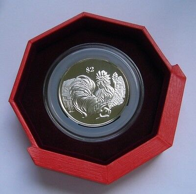 Singapore 2 Dollars 2017 coin with Original box, Year of the Fire Rooster
