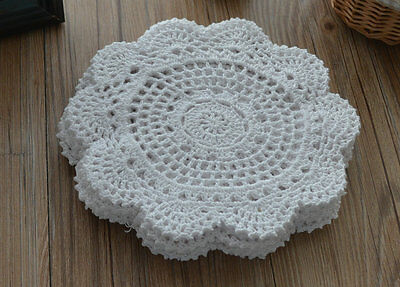 "Victorian White 8"" Round Floral Crochet Lace Doily French Country Wedding"