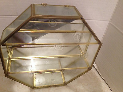 Vintage Glass Mirrored Curio Cabinet Brass Display Case For Miniatures