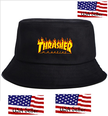 336fedeb013 THRASHER BUCKET HAT Skateboard Magazine Flames Logo -  12.92