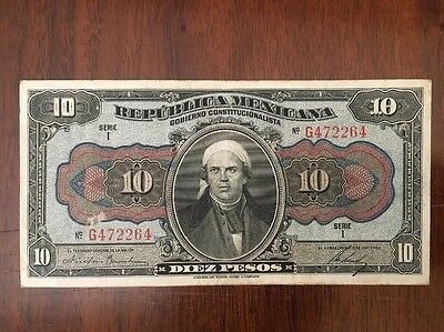 M28 Mexico Revolution 10 Pesos 1915 Banknote P-S686 Paper Money Currency