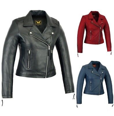 Women Genuine Cowhide Motorcycle Casual Soft Light Weight Leather Jacket black