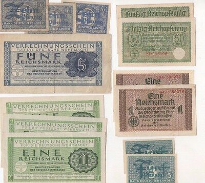 G2 Germany Lot 13 Banknotes 1 5 Mark 5 10 50 Pfennig 1940 1944-45 P-M38 M39 R136