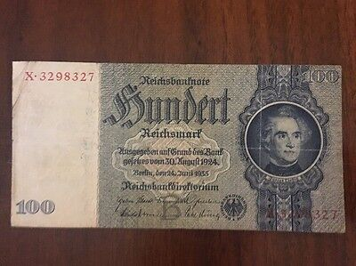 G3 Germany 100 Mark Reichsmark 1935 P-183a Banknote Antique Currency Money