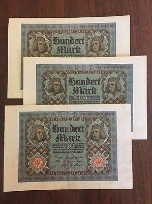 G5 Germany 100 Mark Lot of 3 Banknotes 1920 Antique Currency Paper Money Berlin