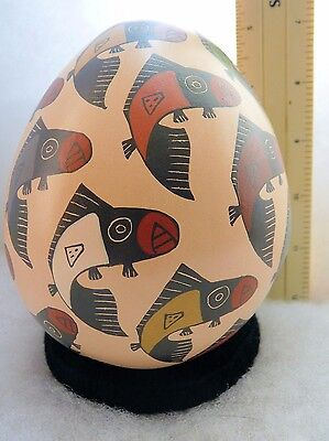 Small Gallery Quality Mata Ortiz Pottery, Signed Maribel Lopez, With Fish!