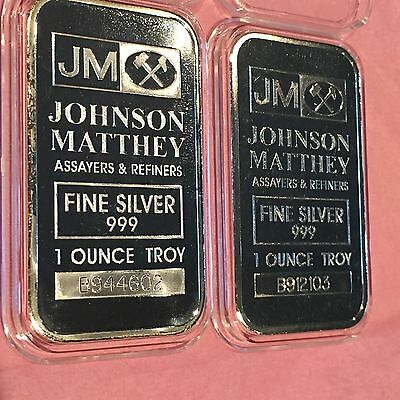 2 x 1 Troy Oz .999 Fine Silver Johnson Matthey Capsule Collectible Bars Serial #